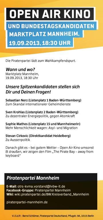 Open-Air-Kino und Bundestagskandidaten am Marktplatz Mannheim am 19.09.2013, 18:30 Uhr